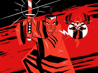 Samurai Black + Red cartoon network japan sumi design cartoon vector character design illustration ill samurai jack