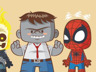 Lil Bffs - New Fantastic Four illustration vector spiderman hulk ghost rider wolverine fantastic four