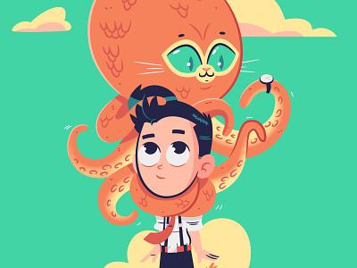 Thadeus Loves Octo-puss (redux) design childrens book illustration octopus cats cartoon drawing illustration vector character design character graphic design