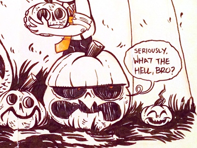 Inktober Day 13  halloween pen and ink inktober character design jack o lantern