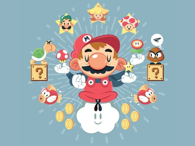 The One-UP t-shirt nintendo teefury gallery 1988 character design illustration super mario