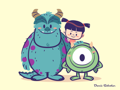 Lil BFFs: Sully, Mike and Boo disney character design pixar monsters inc