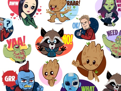 Guardians of the Galaxy Vol2 - Facebook Stickers illustration digital stickers character design guardians of the galaxy facebook stickers