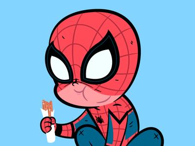 Spidey Churro Break churro character design illustration marvel spiderman