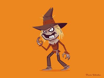 Scarecrow illustration character design batman animated batman btas scarecrow