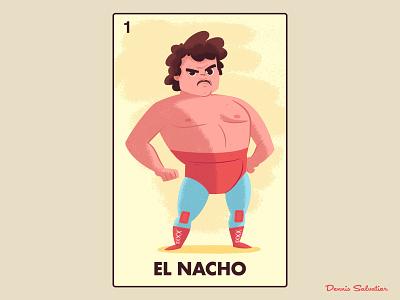 Nacho vector loteria character art illistration nacho libre