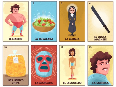 Nacho Daddy's Lotería digital paint latin america character design illustration nacho libre