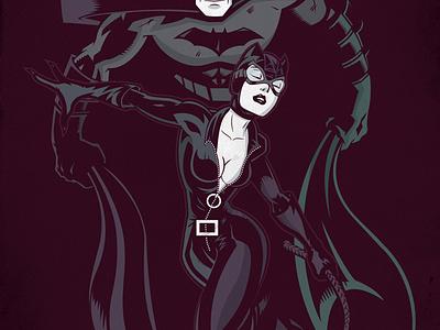 Batman Catwoman Negative batman catwoman vector illustration poster negative space
