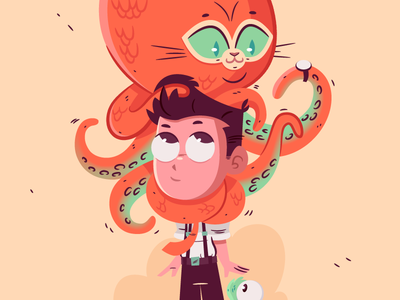 Thadeus loves Octo-puss color palette sketch drawing illustration character design