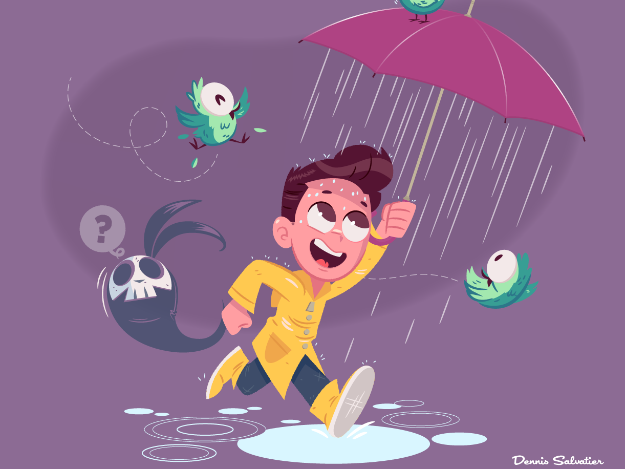 Pluviophile vector character design illustration