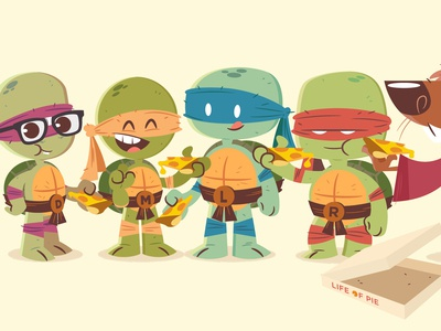 National Pizza Day cartoon vector character design illustration teenage mutant ninja turtles ninja turtles
