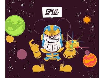 Come at me, bro! vector illustration marvel disney thanos mickey