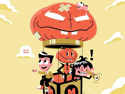 Thadeus and his pals cartoon digital art vector illustration character design