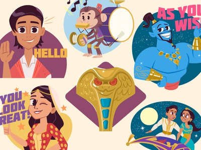 Aladdin iOS Digital Stickers disney digital stickers vector character design illustration aladdin