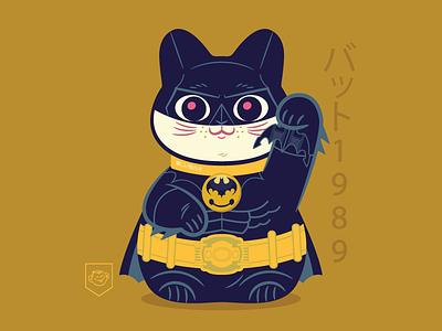 Bat Neko 1989 dccomics batman cat maneki neko character design vector illustration