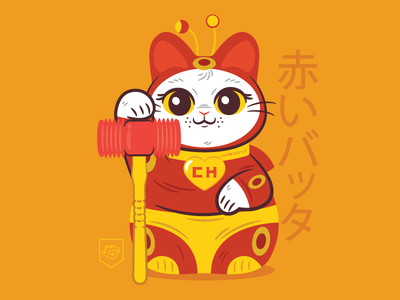 Chapulin Neko chapulin colorado maneki neko character design vector illustration