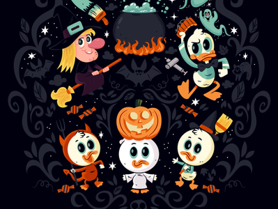 Trick or Treat donald duck digital art cartoon disney character design illustration