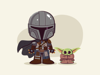 Lil Mandalorian and Baby Yoda baby yoda mandalorian illustrations vector character design illustration star wars