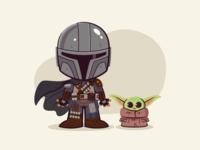 Lil Mandalorian and Baby Yoda