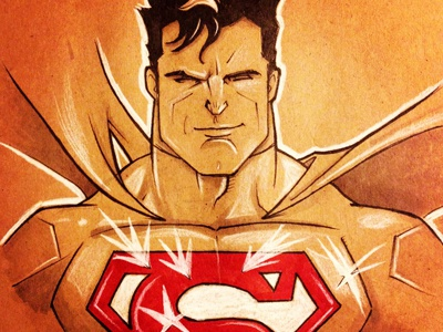 Superman drawing superman pen and ink superheroes dccomics