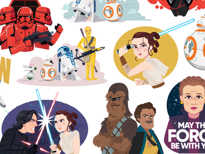 Rise of Skywalker Digital Stickers samsung galaxy character design disney lucasfilm digital art illustration rise of skywalker star wars