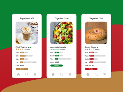 Product Page for a Café dailyui012 customize bagel café cafe store minimal design together