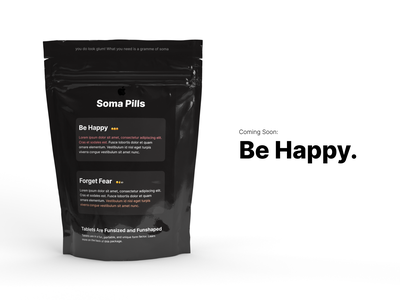 """Soma Pills"" by Apple (Brave New World Reference) satire joke gramme apple design dailyui048 coming soon happiness dailyui soma soma pills soma pills apple brave new world"