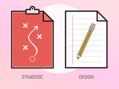 UX Workflow - Strategic Design clip folder doc vector illustration sketch icons report user experience ux design strategy