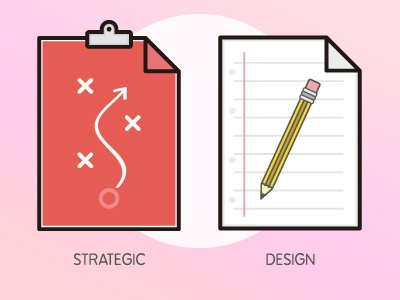 UX Workflow - Strategic Design clip folder doc vector illustration sketch icons report user experience ux design strategy
