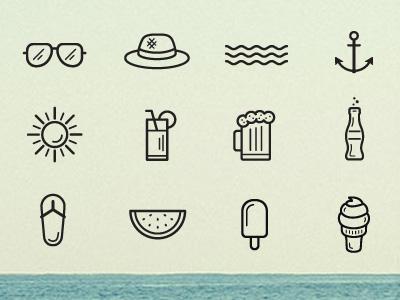 Beach And Summer Icons creative event season summer web app ai linear flat icons
