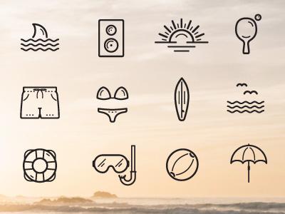 Beach And Summer Icons - Part2 creative event season summer web app ai linear flat icons