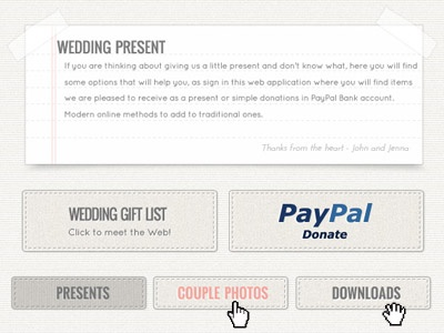 Classic Wedding Website elements tradition stats present stitches buttons ui web wedding