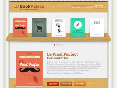 Book Palace Website shop wood author portfolio mockup ebook landing bookshelf ecommerce book ui web