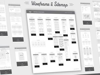 Wireframe and Sitemap Creator web flat flow grid gray clean deliverables vector ui ux sitemap wireframe