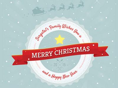 Cute Christmas And New Year Card   Volume 02 snow ribbon mistletoe santa reindeer star xmas badge christmas card