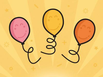 Happy Balloons illustrator floating illustration character children vector fly string smile yellow balloons aniversary