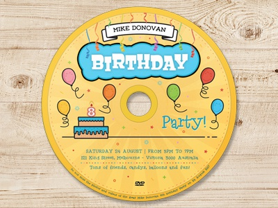 Kids Birthday Party DVD Cover - Volume 03 yellow streamers fun media cover cake cd dvd blu-ray birthday balloons aniversary