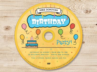 Kids Birthday Party DVD Cover - Volume 03 yellow streamers fun media cover cake cd dvd blu-ray birthday balloons aniversary
