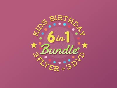 Kids Birthday Super Bundle kids type circle colors stars promo bundle party birthday banner badge