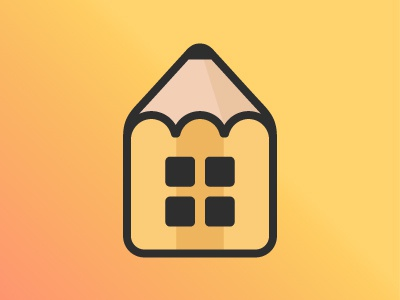 House Design Logo real state property retail creative housing identity brand windows logo pencil home cute