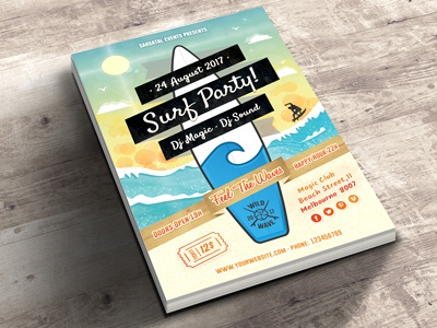 Surf Party Invitations event sky dj wave surfboard party invitations bokeh flyer ribbon sea surf