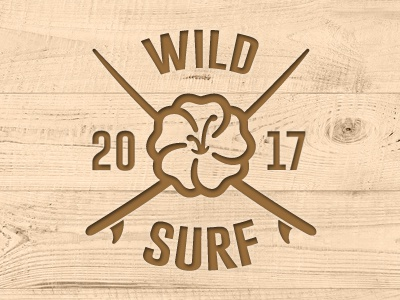 Surf Badge logo wild wood lei hibiscus flower surfboard vector surf badge