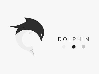 Dolphin illustration design logo flat vector