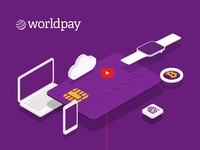 Worldpay key visual illustrations purple worldpay payment landing page site interactive web digital infographic design graphic illustration