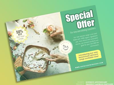 Skincare Promotional Postcard postcard design postcard promotional design design branding