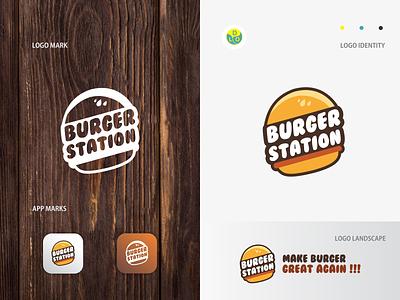 Burger Station - Logo station burger illustration logos app logo mark minimal icon logotype flat design design logo design logo