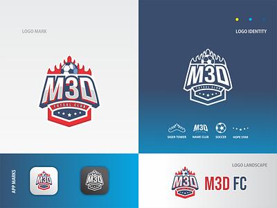 M3D FC - Logo 3d ball futsal football illustraion logos flat app logo mark minimal icon logotype flat design design logo design logo