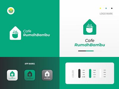 Cafe Rumah Bambu - Logo coffee cafe branding illustration minimal icon logotype flat design design logo design logo