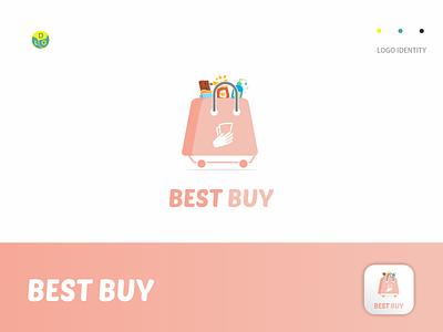 Best Buy pink shopping bag shopping food shop logos app logo mark minimal icon logotype flat design design logo design logo