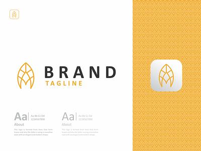 Letter A Leaf Logo leaf gold a letter logos minimal illustration logo design design flat design logotype icon branding logo graphic design